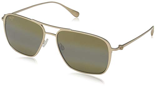 Maui Jim H541-16A Gold Gold Beaches Square Sunglasses Polarised Lens Category 3 Lens Mirrored Size 57mm