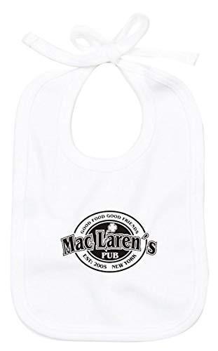 Shirtinstyle Babero de Bebé Baberos Bebé Mac Laren ŽS Pub - Blanco