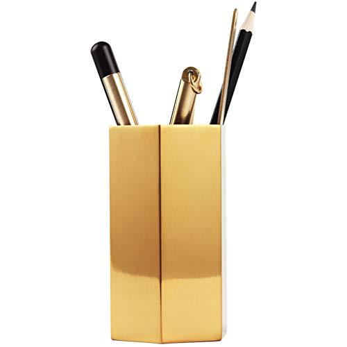 Stiftebecherhalter, Schreibtisch-Organizer, goldfarbener Stifthalter, Behälter,Schreibwaren,Vintage, geometrische Tischvasen, Blumentopf,Make-up-Pinselhalter für Büro und Zuhause Hexagonal Prism -