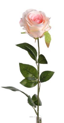 Artif-deco - Rose nina artificielle rose tendre h 70 cm tete superbe 9 cm 3 feuilles superbes - choisissez votre coloris: rose tendre