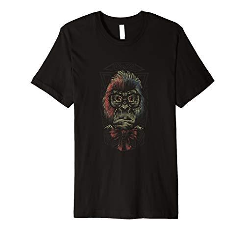 Gorilla Tshirt trägt Lesebrille und Fliege Anzug
