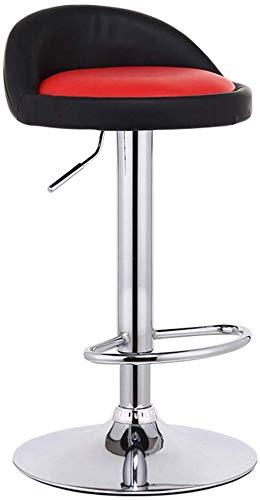 Beakjiful Stuhl Fußstütze mit runder PU-Sitzlehne Einstellbarer Gaslift 60~80 cm für Frühstücksrestaurant Pub |Café Barhocker verchromtes Tellergestell max.Laden Sie 150