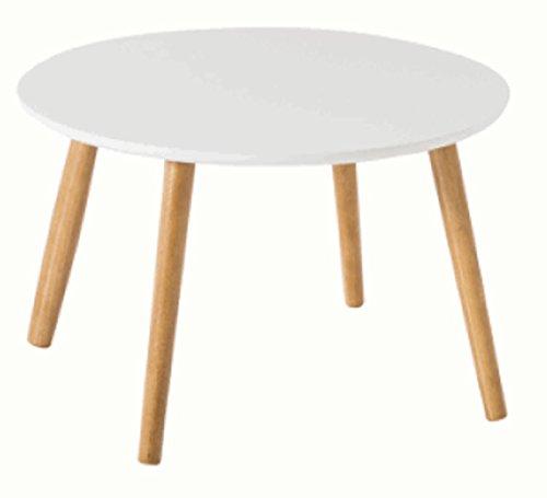 PEGANE Table Basse Rond Coloris Blanc en Aggloméré - Dim : 58 x 35 x 58 cm