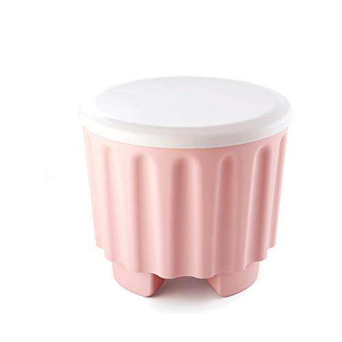 WXL Aufbewahrungshocker - farbig stapelbarer Aufbewahrungshocker Multifunktions-Aufbewahrungshocker kann sitzen Menschen Schuhe wechseln Hocker Kunststoffhocker (Color : Pink)
