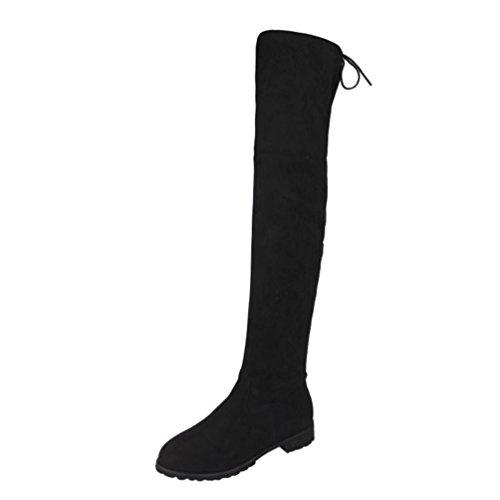 Damen Schuhe Dasongff Damen Stiefel Stretch Slim Stiefeletten Plus Samt Kniestiefel Reißverschluss Wohnungen Tall Tube Stretch Langschaft Boots Schuhe (EU:41, Schwarz) (Stiefel Wildleder Tall)