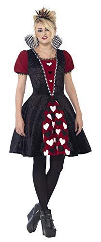 Kostüm Queen Of Hearts Deluxe - Smiffy's 44335XS - Deluxe Dark Queen-Kostümes mit Dress und Filz Tiara
