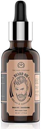 The Man Company Smoothening Beard Oil -Argan & Geranium(50ml) | Made in I