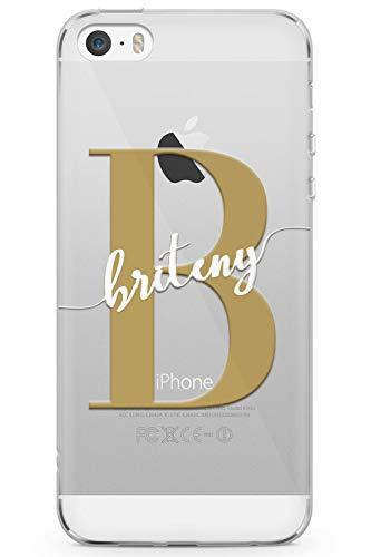 Case Warehouse iPhone 5 / 5s / SE Monogramm Custom Name Initial Gold-Weiß Schutz Gummi Handyhülle TPU Bumper Herz Handschrift Rose Gold Luxus Initialen (Iphone 5 Case Fashion Girl)