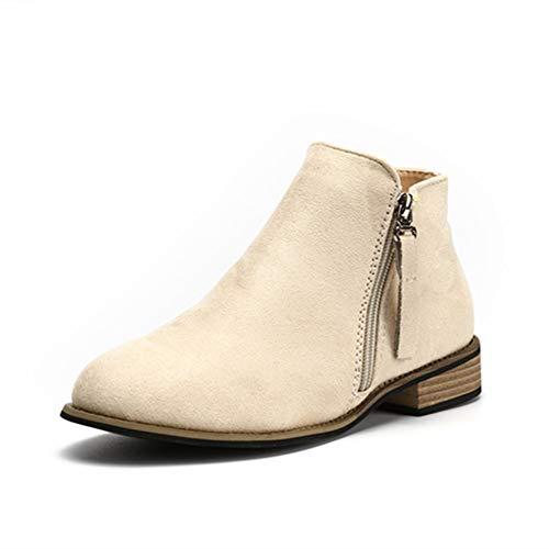 Botines Mujer Tacon Medio Planos Invierno Tacon Ancho Ante Piel Botas Botita Planas 2.5cm Casual Ankle Boots Suede Zapatos Caqui Beige Negros 35-43 BG37