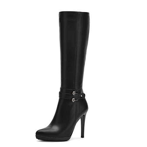 KingRover Women's Casual Knee High Thin Heel Pointed Toe Fashion Buckle PU Leather Boots (Pu Knee High Boots Black)