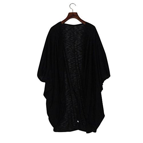 Kanpola Frauen Strickjacke Boho Lange bedruckte Schal Bluse (XXXL, Schwarz) (Koch Pullover Tunika)