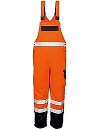 Warnschutz Latzhose nach EN 471 und EN 343 in Neongelb oder Warnorange