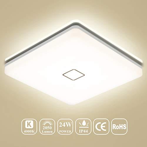 Deckenleuchten LED, LED Deckenlampe Bad, Öuesen 24W IP44 Neutralweiss Wasserfest Badezimmerleuchte Innenbeleuchtung Bürodeckenleuchten Küche Leuchte Schlafzimmer Balkon Leuchte 4000K, Ø32cm, 2050LM
