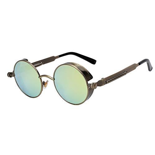 Daawqee NEW Mirror Lens Round Glasses Goggles Steampunk Sunglasses Vintage Retro For Men And Women Hisper Eyewear Brass Gold Mirror