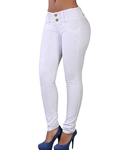 Dooxi Donna Casuale Skinny Stretch Matita Pantaloni Moda Sottile Colore Solido Sportivi Pantaloni Bianca