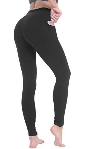 Beelu Yogahose Sporthose Damen Hohe Taille Bauchkontrolle Frauen Leggings Laufhose Fitnesshose mit Taschen (Schwarz, Plus Size)