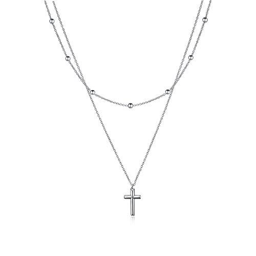 YFN Schmuck Kreuz Anhänger Silber Kreuz Halskette geschichteten Halsketten für Damen, Damen, Mädchen - Anhänger Halskette Silber Kreuz