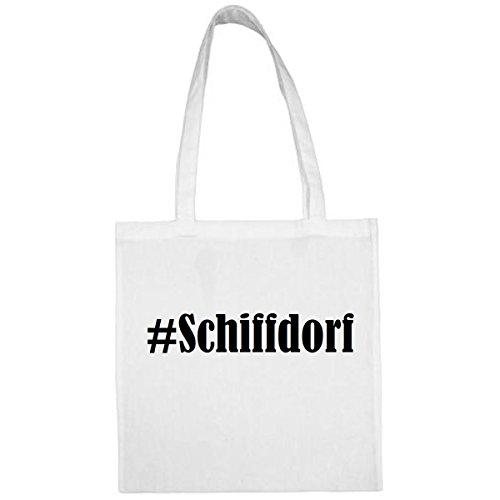 Tasche#Schiffdorf Größe 38x42 Farbe Weiss Druck Schwarz