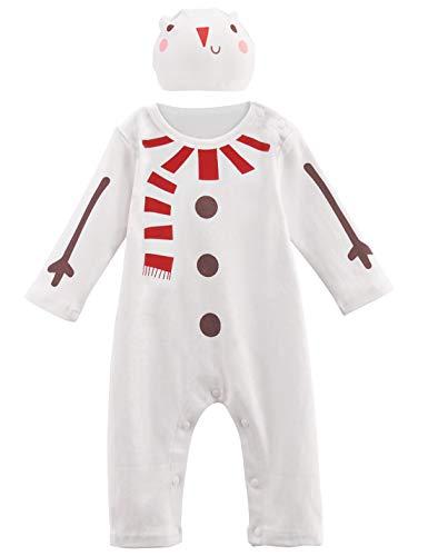 A&J Design Bambino Ragazzo Natale Pagliaccetto Elfo Costume con Cappello (Pupazzo di Neve, 3-6 Mesi)