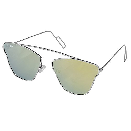 Silver-Kartz-Green-Mercury-Silver-Metallic-Single-Bar-Unisex-Aviator-Sunglasses-wy196