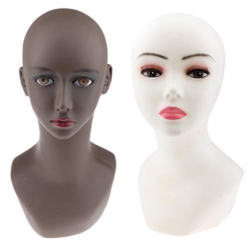 SM SunniMix 2 Stück Weibliche Kopfmodell Mannequin Kopf Perückenständer Dekokopf für Perücke, Hüte, Schals, Sonnenbrillen usw. -