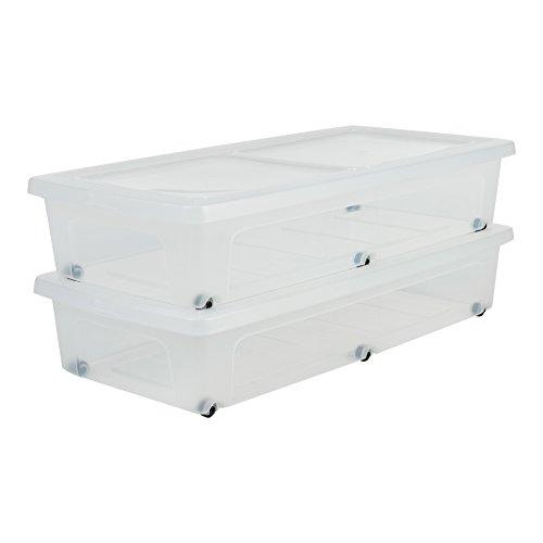 IRIS 135460, 2er-Set Unterbettboxen / Rollerboxen / Aufbewahrungsboxen \'Modular Clear Box Under Bed\', MCB-UB, mit 6 Rollen, Plastik, transparentes Grau, 35 L, 80 x 40 x 16 cm