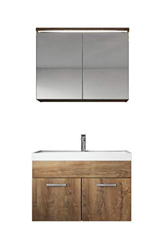 Badezimmer Badmöbel Set Paso 02 80 cm Waschbecken Lefkas (Braun) - Unterschrank Schrank Waschbecken Spiegelschrank Schrank