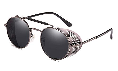 Sport-Sonnenbrillen, Vintage Sonnenbrillen, NEW Retro Steampunk Sunglasses Round Designer Steam Punk Metal Shields Sunglasses Men Women UV400 Gafas De Sol