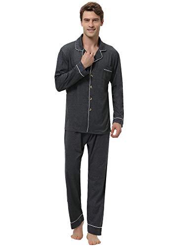 Aibrou Herren Baumwolle Pyjama Set, Einfarbiger Zweiteiliger Schlafanzug Langarm Shirt und Pyjamahose Dunkelgrau L - Baumwolle Gewebte Pyjama-set