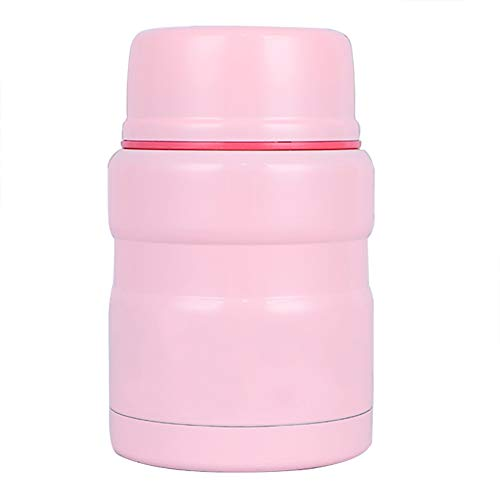 ZqiroLt Saugnapf, 500ml Lunchbox Heat Insulation Soup Stew Kettle Bowl Vacuum Food Container-Pink