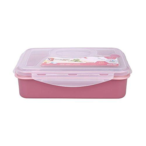 Kicode TOPmountain 4 Compartments Mikrowelle Kunststoff Bento Lunch Box Snacks Suppe-Nahrungsmittelbehälter Utensilien Aufbewahrungsbehälter Löffel Schule Büro
