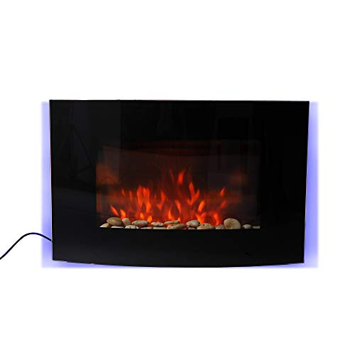 HOMCOM LARGE LED CURVED GLASS ELECTRIC WALL MOUNTED FIRE PLACE FIREPLACE 7 COLOUR SIDE LIGHTs SLIMLINE PLASMA FAN HEATER