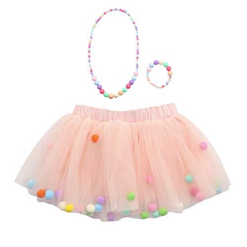 rock Einfarbig Fellknäuel Kunstpelz Ball Kinder Unterkleid Crinoline Petticoat Röckchen Karneval Fasching Kostüm Minirock ()