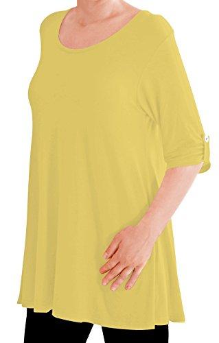 Eyecatch TM Oversize - Haut Tunique manches longues 3/4 large col rond grandes tailles- Jessica - Femme Jaune