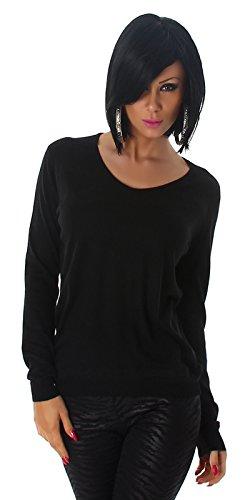Jela London Damen Pullover Sweater V-Neck Lurex Streifen Feinstrick schwarz -