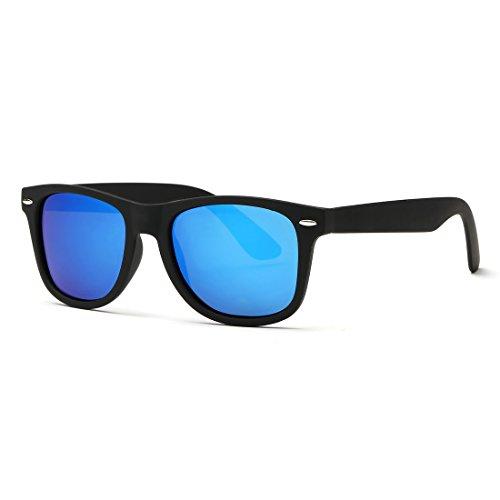 Kimorn polarizzate occhiali da sole classico unisex corno in rotazione anni retro ae0300 (nero&azzurro, 52)