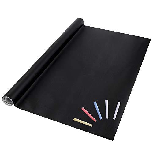 Eachgoo Adhésif Tableau Noir Sticker Ardoise Autocollant Mural Papier 44.5 x 210cm à 5 craies