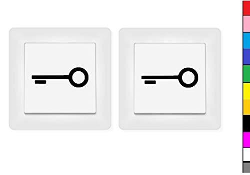 generisch 2X Schlüssel Aufkleber Schalteraufkleber Symbol Schalter sperren Türe (246/2/4) (Dunkelgrau Matt, 4,5 x 1,5 cm)