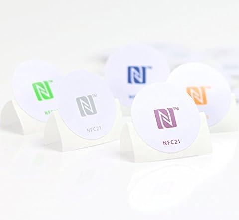 5 NFC Sticker, optimal für Geräte-/ Profilsteuerung (Wlan, Bluetooth, Apps), 540 Byte, NTAG 215, 30mm, 5 Farben, kompatibel zu allen nfc-fähigen Smartphones/ (Nfc Sticker)