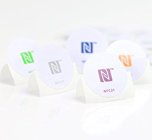 5 NFC Sticker, optimal für Geräte-/ Profilsteuerung (Wlan, Bluetooth, Apps), 540 Byte, NTAG 215, 30mm, 5 Farben, kompatibel zu allen nfc-fähigen Smartphones/ Tablets -