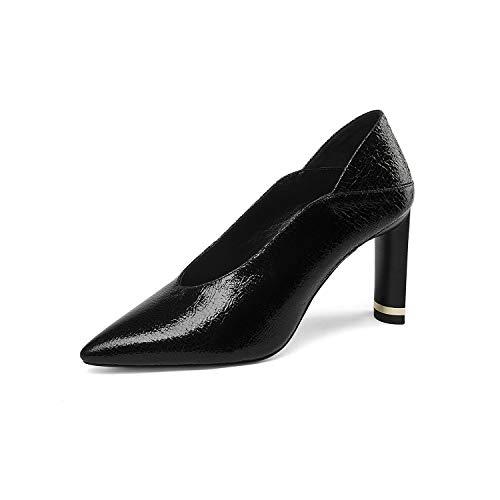Gfphfm Women es Shoes, 2019 Slim High Heel Ladies Schuhe Pointed Shallow Mouth Single Shoes Party Dress High Heel,Black,37 - Black Leder-plattform