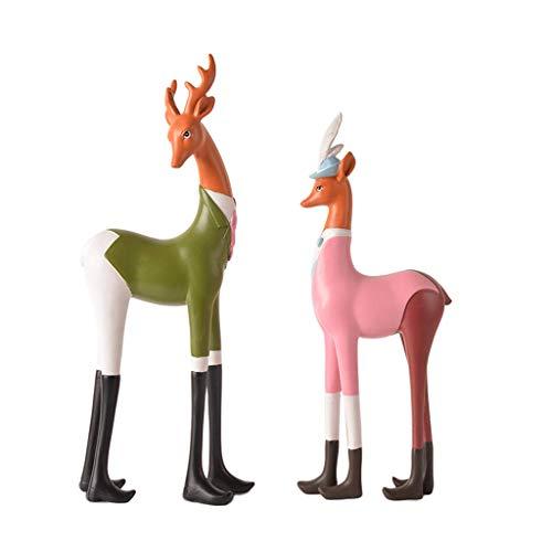 ZFBJ Nordic Double Deer Dekoration Home Harz