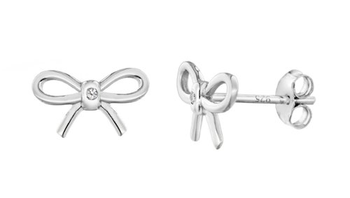 Lily and Lotty Kinder-Ohrstecker for Girls Sterling Diamond Minnie Bow Stud Earrings 925 Silber Diamant (0.01 ct) weiß Rundschliff-0.01.0340