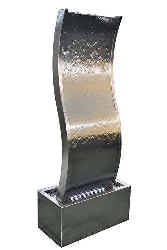 Köhko® Wasserwand ca. 97 cm in Wellenform aus Edelstahl Wasserspiel LED-Beleuchtung