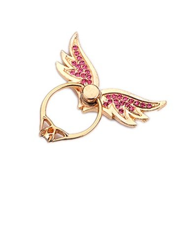 TBOP PHONE RING BUCKLE THE BEST OF PLANET SIMPLE & STYLISH Metal cartoon angle wings pink ring bracket bracelet buckle lazy folding mobile phone ring buckle diamond in golden color