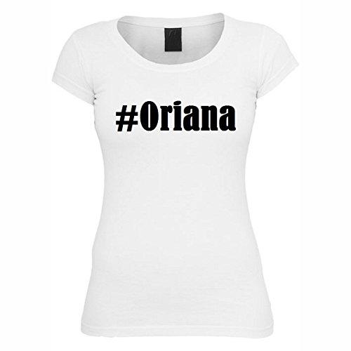 T-Shirt #Oriana Hashtag Raute für Damen Herren und Kinder ... in den Farben Schwarz und Weiss Weiß