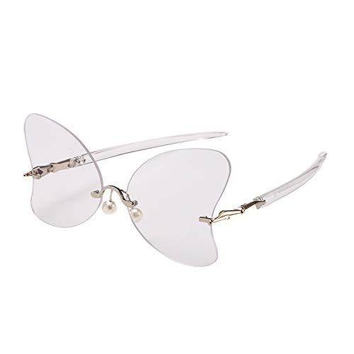 Yangjing-hl Sonnenbrille Modetrend Sonnenbrille herzförmigen Ozean Film Sonnenbrille Damen Sonnenschirm transparente Füße weiß flach