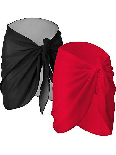 Chuangdi 2 Stücke Damen Strand Wickeln Sarong Aufdecken Chiffon Badeanzug Wickelröcke, Schwarz und Weiß (Schwarz und Rot, kurz)