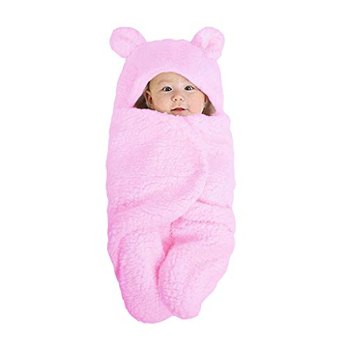 Xurgm Baby Schlafsäcke, Warme Wrap Swaddle Decke Schlafsack Kinderwagen Wolle gestrickte Baumwolle Kuscheldecke für 0-12 Monate Neugeborenen Kleinkind Babys (Pink)