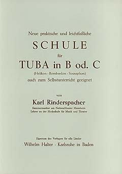 TUBASCHULE - arrangiert für TUBA in B - (TUBA in C) [Noten / Sheetmusic] Komponist: RINDERSPACHER KARL